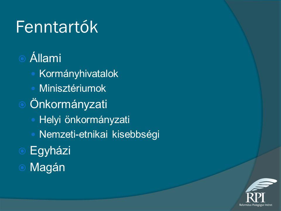 Fenntartók  Állami  Kormányhivatalok  Minisztériumok  Önkormányzati  Helyi önkormányzati  Nemzeti-etnikai kisebbségi  Egyházi  Magán