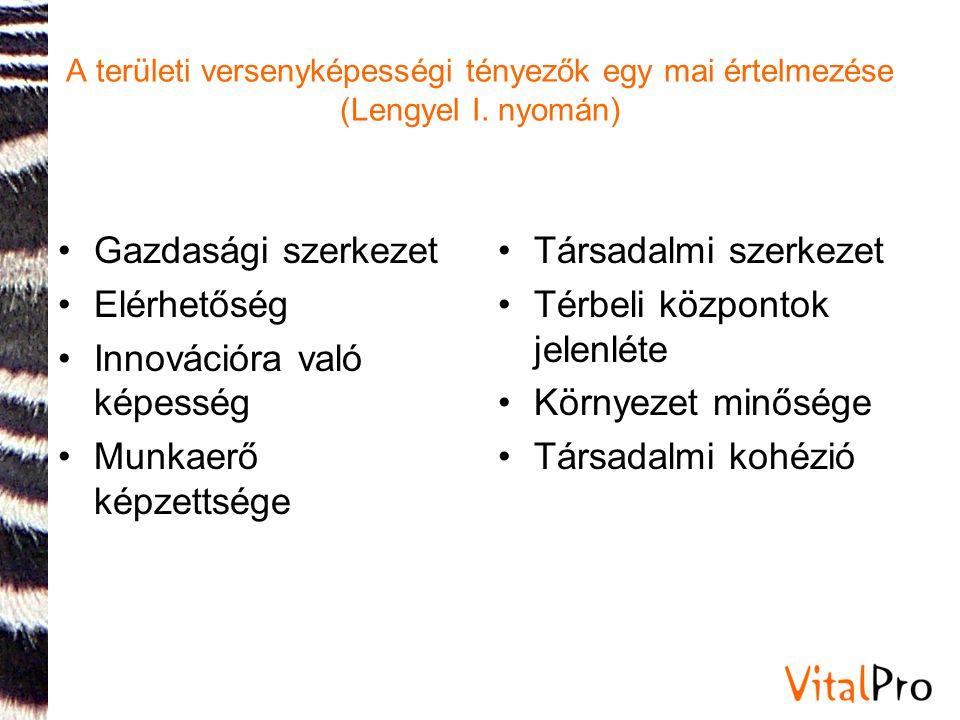 A területi versenyképességi tényezők egy mai értelmezése (Lengyel I. nyomán) •Gazdasági szerkezet •Elérhetőség •Innovációra való képesség •Munkaerő ké