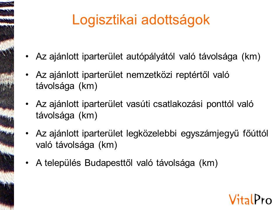 Logisztikai adottságok •Az ajánlott iparterület autópályától való távolsága (km) •Az ajánlott iparterület nemzetközi reptértől való távolsága (km) •Az ajánlott iparterület vasúti csatlakozási ponttól való távolsága (km) •Az ajánlott iparterület legközelebbi egyszámjegyű főúttól való távolsága (km) •A település Budapesttől való távolsága (km)