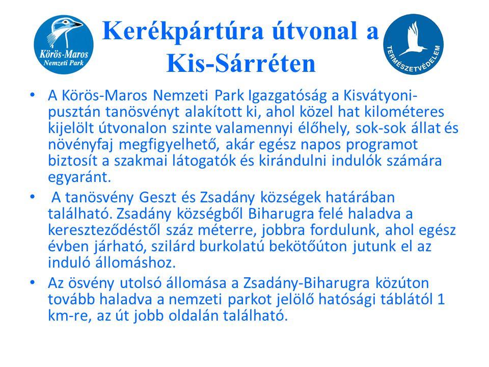 • A Körös-Maros Nemzeti Park Igazgatóság a Kisvátyoni- pusztán tanösvényt alakított ki, ahol közel hat kilométeres kijelölt útvonalon szinte valamenny