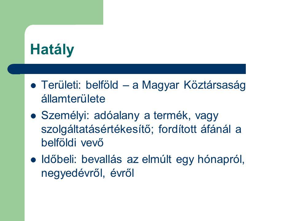 Hatály  Területi: belföld – a Magyar Köztársaság államterülete  Személyi: adóalany a termék, vagy szolgáltatásértékesítő; fordított áfánál a belföld