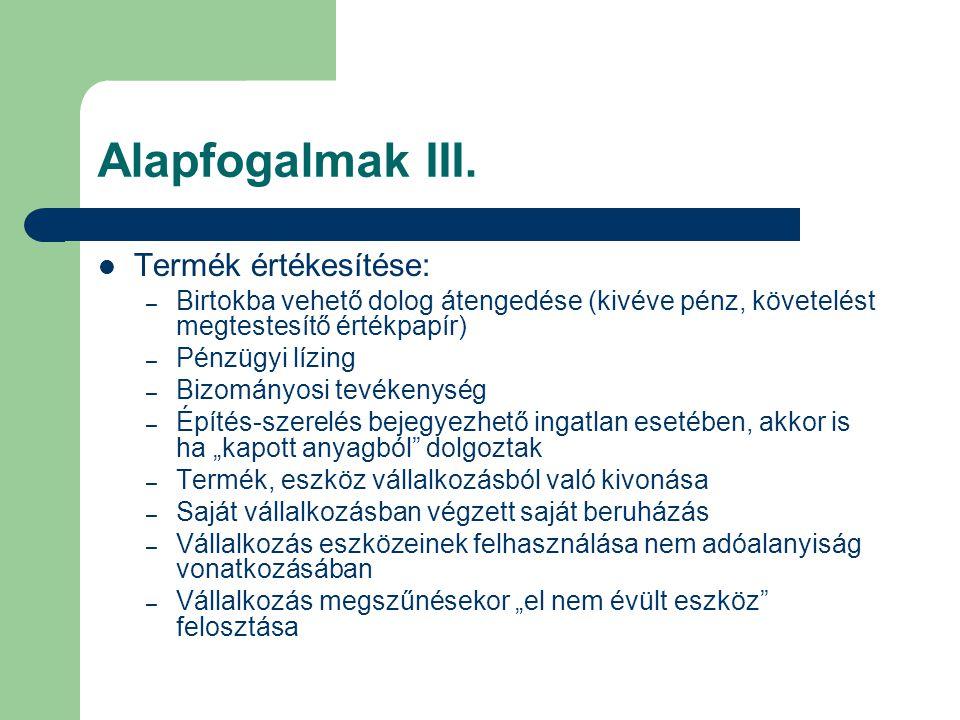 Tárgyi eszközre vonatkozó különös szabályok  Ingóra: – legalább 5 évig a vállalkozást kell szolgálnia – Vagy áfa-val növelten piaci áron kell értékesülnie  Ingatlanra: – legalább 20 évig a vállalkozást kell szolgálnia – Vagy áfa-val növelten piaci áron kell értékesülnie  Ha nem: utólagos adókorrekció, a még hátralevő időrészre jutó adóval meg kell növelni a fizetendő adót