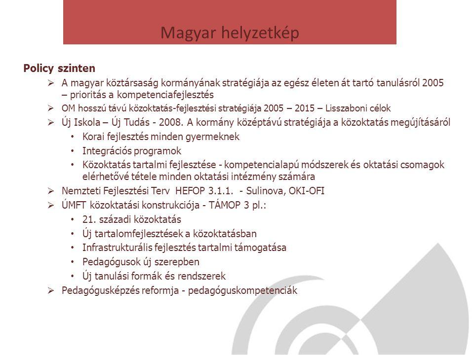 Magyar helyzetkép Policy szinten  A magyar köztársaság kormányának stratégiája az egész életen át tartó tanulásról 2005 – prioritás a kompetenciafejl