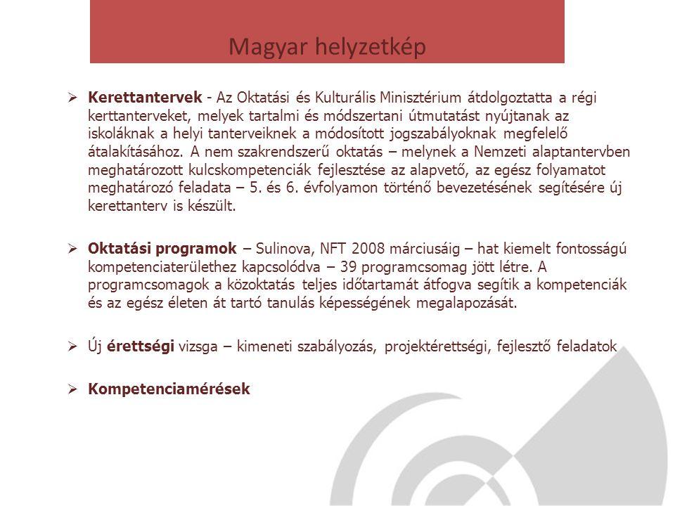 Magyar helyzetkép  Kerettantervek - Az Oktatási és Kulturális Minisztérium átdolgoztatta a régi kerttanterveket, melyek tartalmi és módszertani útmut