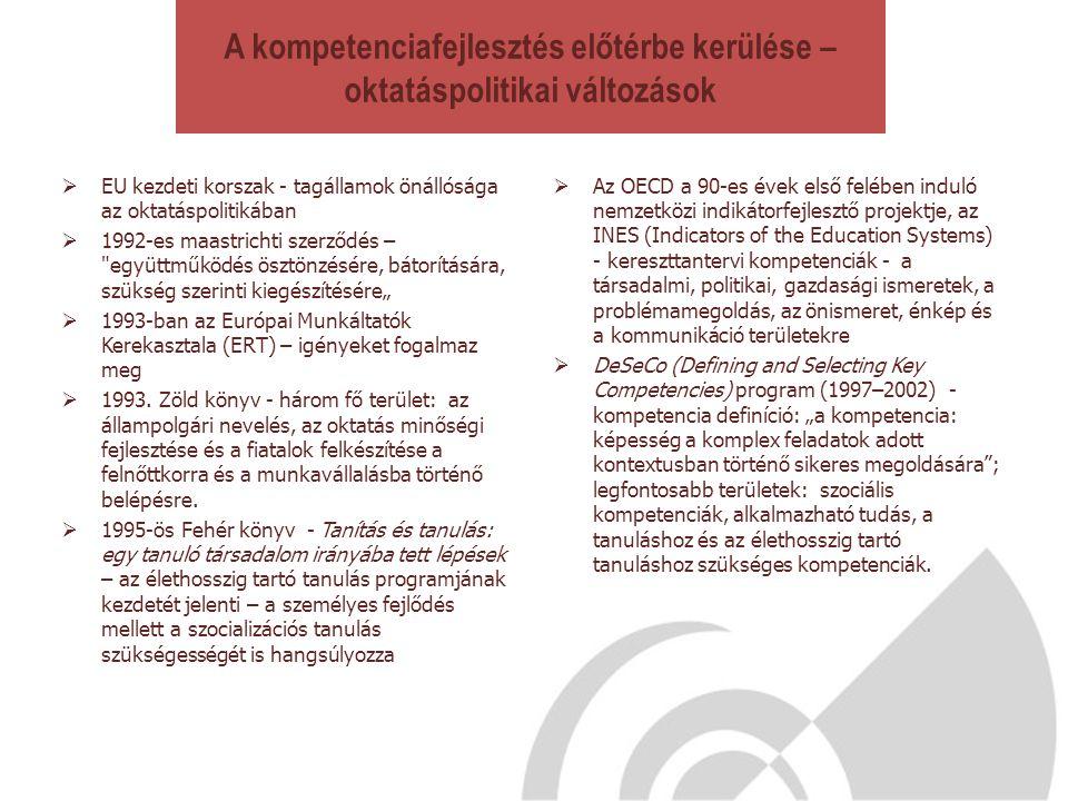 A kompetenciafejlesztés előtérbe kerülése – oktatáspolitikai változások  EU kezdeti korszak - tagállamok önállósága az oktatáspolitikában  1992-es m