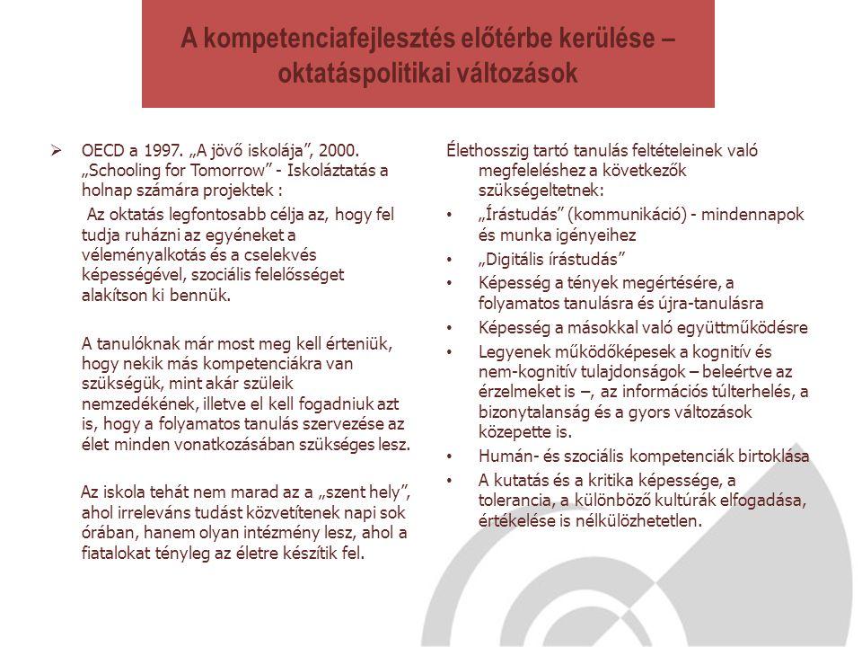 """A kompetenciafejlesztés előtérbe kerülése – oktatáspolitikai változások  OECD a 1997. """"A jövő iskolája"""", 2000. """"Schooling for Tomorrow"""" - Iskoláztatá"""