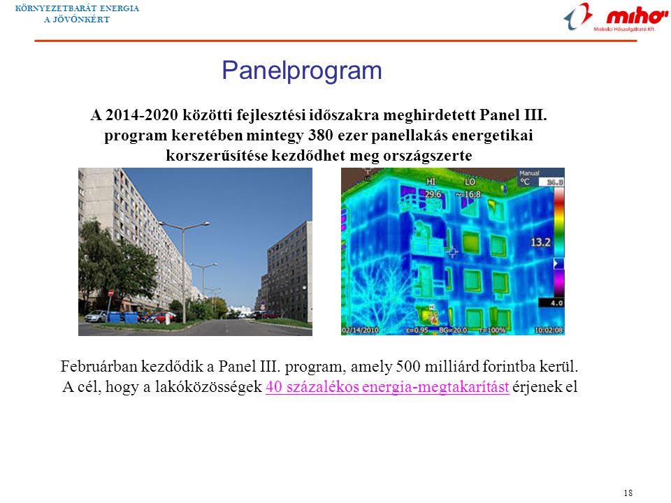KÖRNYEZETBARÁT ENERGIA A JÖV Ő NKÉRT 18 A 2014-2020 közötti fejlesztési időszakra meghirdetett Panel III.
