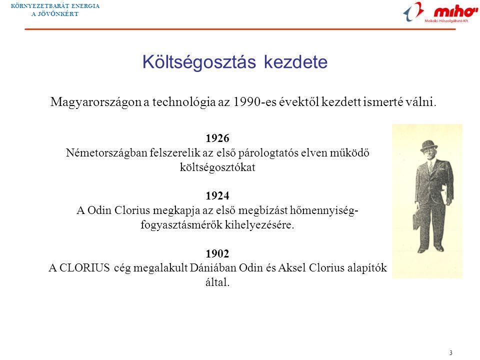 KÖRNYEZETBARÁT ENERGIA A JÖV Ő NKÉRT 3 Költségosztás kezdete 1926 Németországban felszerelik az első párologtatós elven működő költségosztókat 1924 A Odin Clorius megkapja az első megbízást hőmennyiség- fogyasztásmérők kihelyezésére.