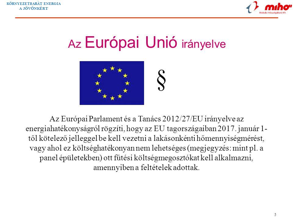 KÖRNYEZETBARÁT ENERGIA A JÖV Ő NKÉRT 5 Az Európai Unió irányelve Az Európai Parlament és a Tanács 2012/27/EU irányelve az energiahatékonyságról rögzíti, hogy az EU tagországaiban 2017.