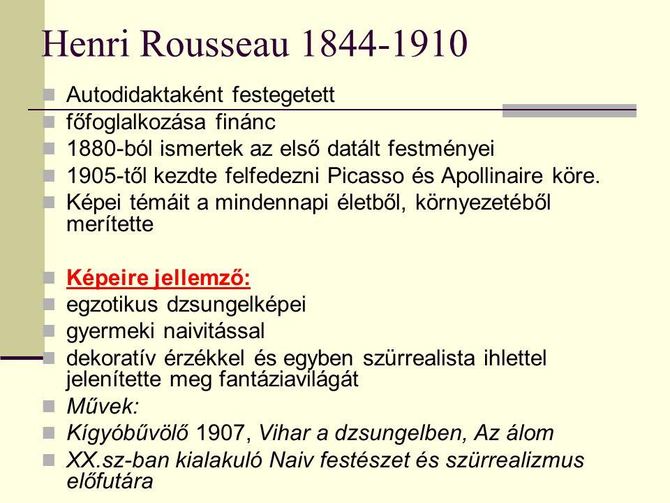 Henri Rousseau 1844-1910  Autodidaktaként festegetett  főfoglalkozása finánc  1880-ból ismertek az első datált festményei  1905-től kezdte felfedezni Picasso és Apollinaire köre.