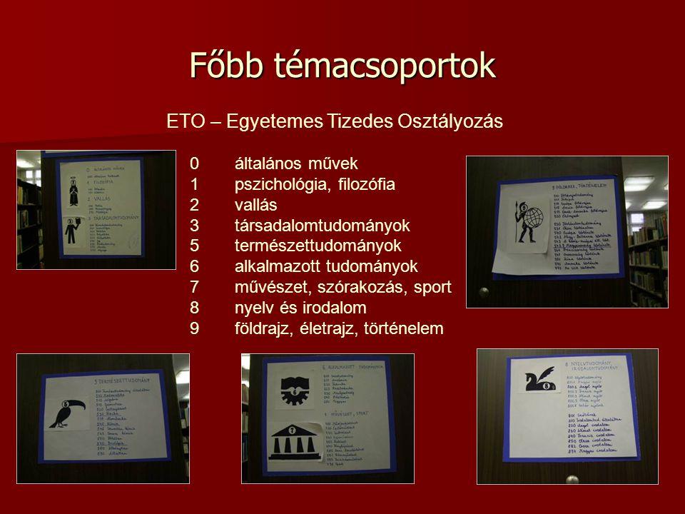 ETO – Egyetemes Tizedes Osztályozás 0általános művek 1pszichológia, filozófia 2vallás 3társadalomtudományok 5természettudományok 6alkalmazott tudomány