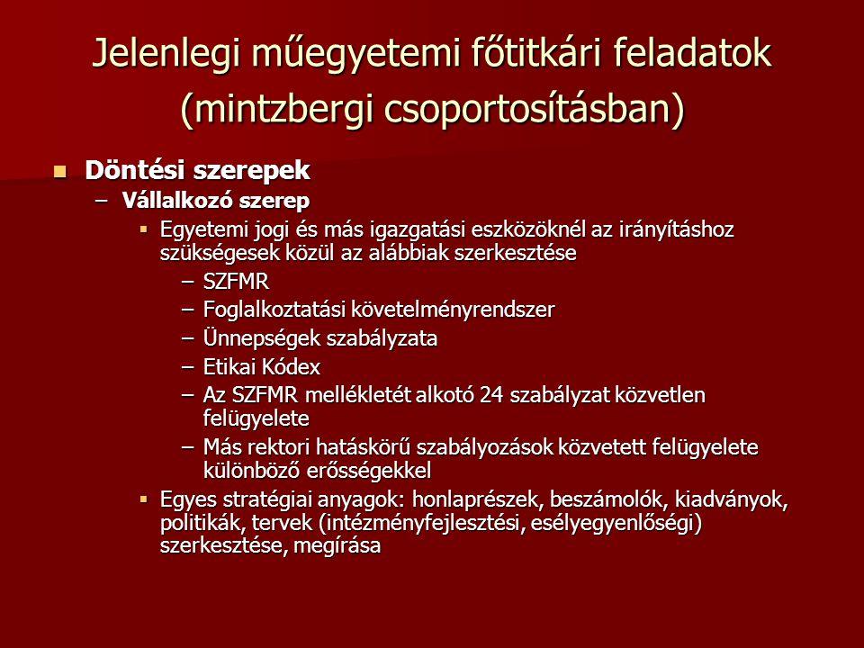 Jelenlegi műegyetemi főtitkári feladatok (mintzbergi csoportosításban)  Döntési szerepek –Vállalkozó szerep  Egyetemi jogi és más igazgatási eszközöknél az irányításhoz szükségesek közül az alábbiak szerkesztése –SZFMR –Foglalkoztatási követelményrendszer –Ünnepségek szabályzata –Etikai Kódex –Az SZFMR mellékletét alkotó 24 szabályzat közvetlen felügyelete –Más rektori hatáskörű szabályozások közvetett felügyelete különböző erősségekkel  Egyes stratégiai anyagok: honlaprészek, beszámolók, kiadványok, politikák, tervek (intézményfejlesztési, esélyegyenlőségi) szerkesztése, megírása