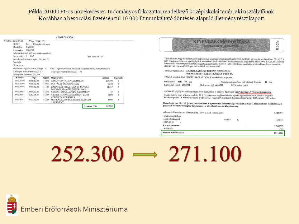 Emberi Erőforrások Minisztériuma Példa a kompenzációra: Szakvizsgázott, 18 éve pályán lévő pedagógus, igazgató-helyettesi beosztásban.