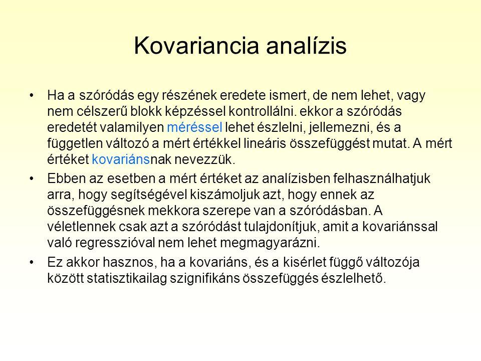 Kovariancia analízis •Ha a szóródás egy részének eredete ismert, de nem lehet, vagy nem célszerű blokk képzéssel kontrollálni. ekkor a szóródás eredet