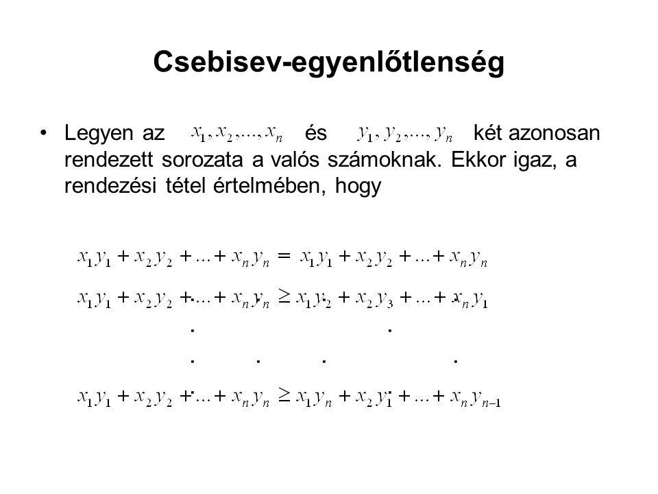 Csebisev-egyenlőtlenség •Legyen az és két azonosan rendezett sorozata a valós számoknak.