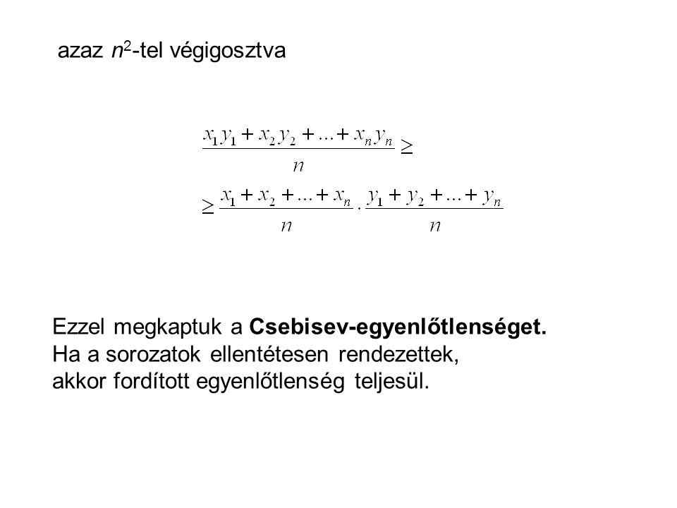 azaz n 2 -tel végigosztva Ezzel megkaptuk a Csebisev-egyenlőtlenséget.