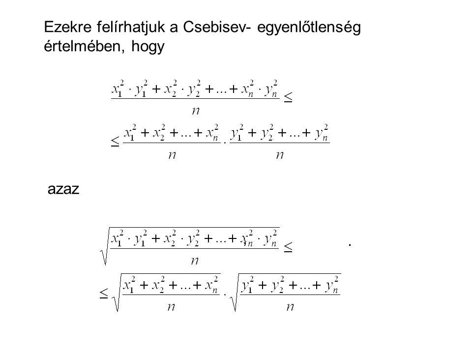 Ezekre felírhatjuk a Csebisev- egyenlőtlenség értelmében, hogy, azaz.
