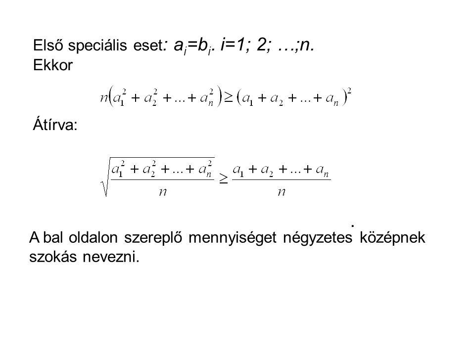 Első speciális eset : a i =b i.i=1; 2; …;n. Ekkor Átírva:.