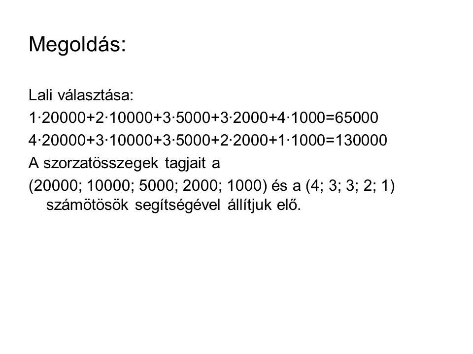 Megoldás: Lali választása: 1∙20000+2∙10000+3∙5000+3∙2000+4∙1000=65000 4∙20000+3∙10000+3∙5000+2∙2000+1∙1000=130000 A szorzatösszegek tagjait a (20000; 10000; 5000; 2000; 1000) és a (4; 3; 3; 2; 1) számötösök segítségével állítjuk elő.