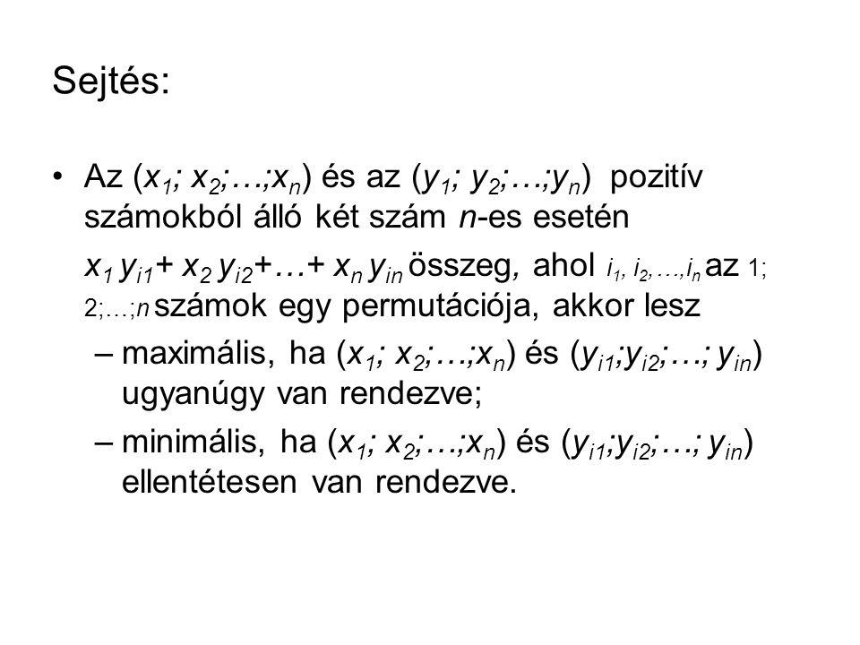 Sejtés: •Az (x 1 ; x 2 ;…;x n ) és az (y 1 ; y 2 ;…;y n ) pozitív számokból álló két szám n-es esetén x 1 y i1 + x 2 y i2 +…+ x n y in összeg, ahol i 1, i 2,…,i n az 1; 2;…;n számok egy permutációja, akkor lesz –maximális, ha (x 1 ; x 2 ;…;x n ) és (y i1 ;y i2 ;…; y in ) ugyanúgy van rendezve; –minimális, ha (x 1 ; x 2 ;…;x n ) és (y i1 ;y i2 ;…; y in ) ellentétesen van rendezve.