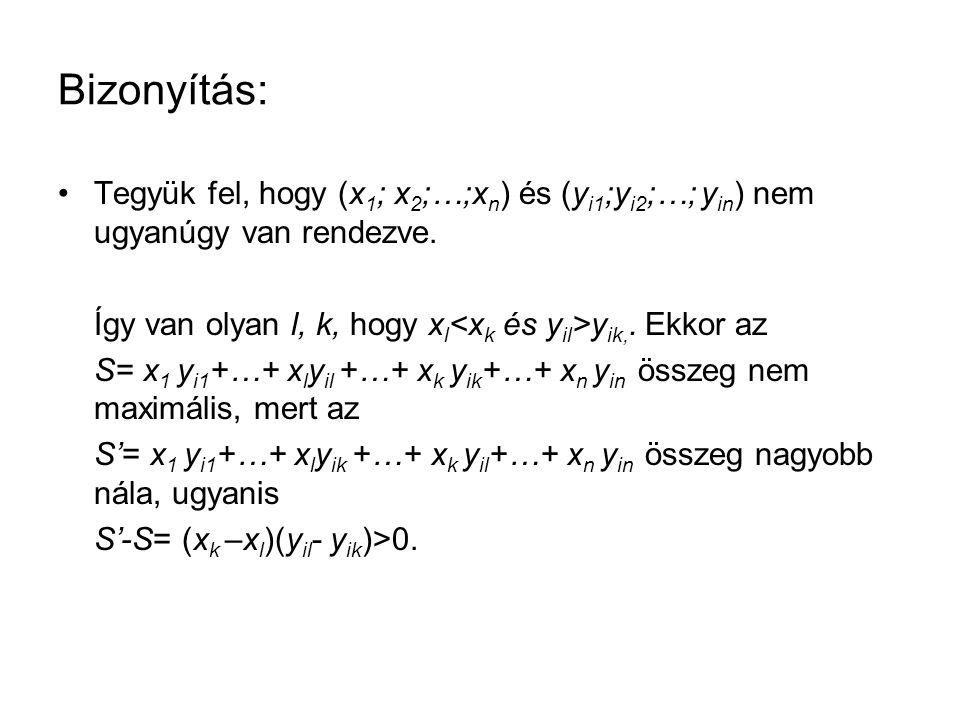 Bizonyítás: •Tegyük fel, hogy (x 1 ; x 2 ;…;x n ) és (y i1 ;y i2 ;…; y in ) nem ugyanúgy van rendezve.