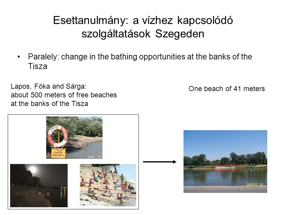 Esettanulmány: a vízhez kapcsolódó szolgáltatások Szegeden •Paralely: change in the bathing opportunities at the banks of the Tisza Lapos, Fóka and Sá