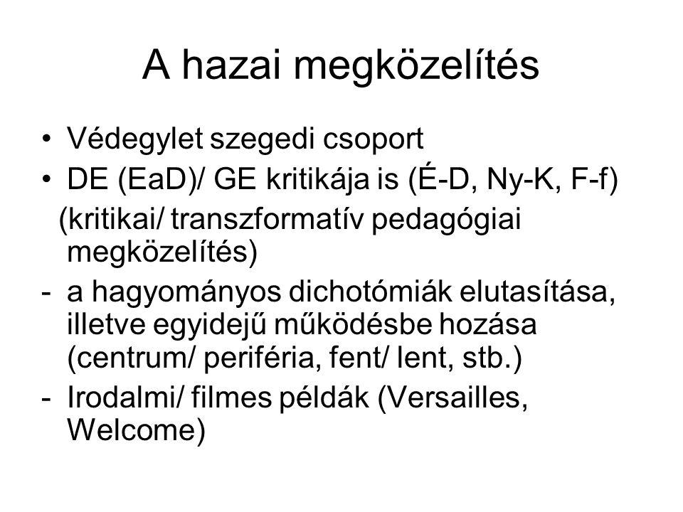 A hazai megközelítés •Védegylet szegedi csoport •DE (EaD)/ GE kritikája is (É-D, Ny-K, F-f) (kritikai/ transzformatív pedagógiai megközelítés) -a hagy
