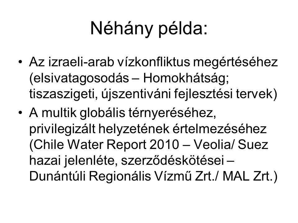 Néhány példa: •Az izraeli-arab vízkonfliktus megértéséhez (elsivatagosodás – Homokhátság; tiszaszigeti, újszentiváni fejlesztési tervek) •A multik glo