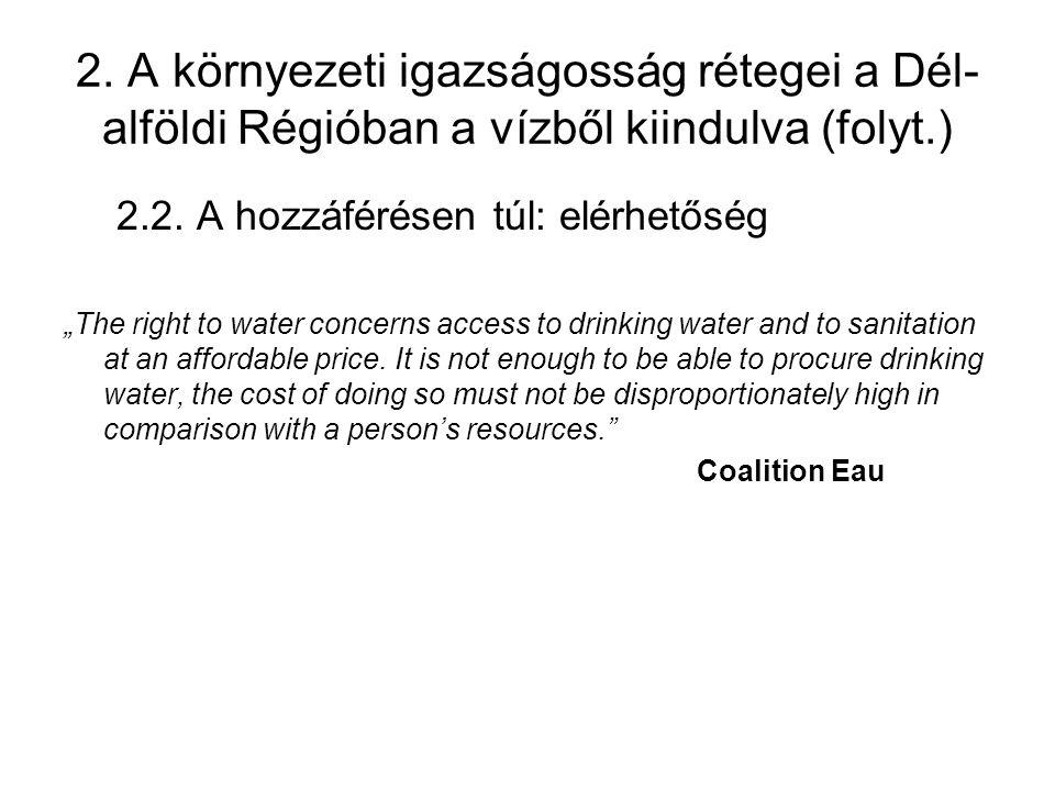 """2. A környezeti igazságosság rétegei a Dél- alföldi Régióban a vízből kiindulva (folyt.) 2.2. A hozzáférésen túl: elérhetőség """"The right to water conc"""
