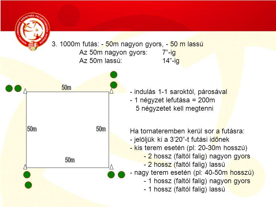 """3. 1000m futás: - 50m nagyon gyors, - 50 m lassú Az 50m nagyon gyors: 7""""-ig Az 50m lassú:14""""-ig - indulás 1-1 saroktól, párosával - 1 négyzet lefutása"""