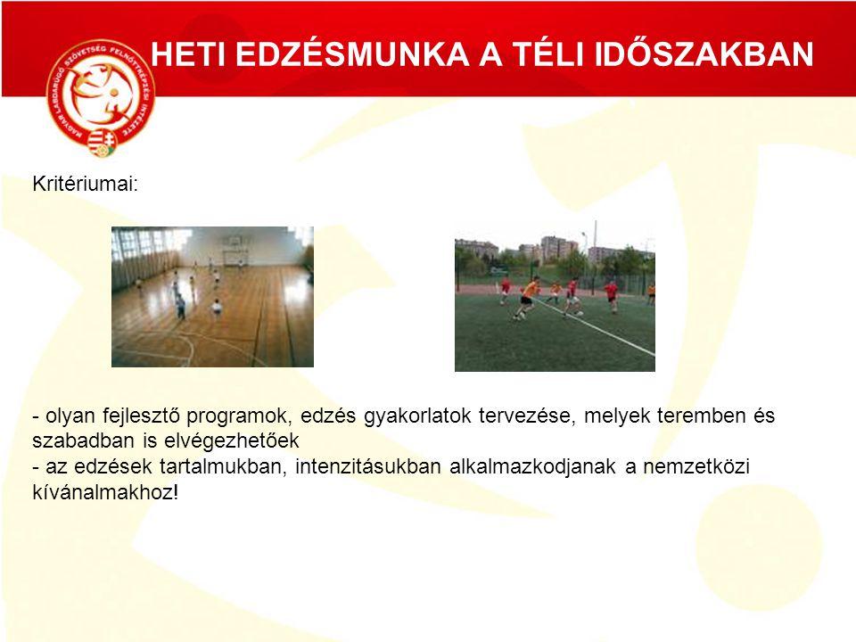HETI EDZÉSMUNKA A TÉLI IDŐSZAKBAN Kritériumai: - olyan fejlesztő programok, edzés gyakorlatok tervezése, melyek teremben és szabadban is elvégezhetőek