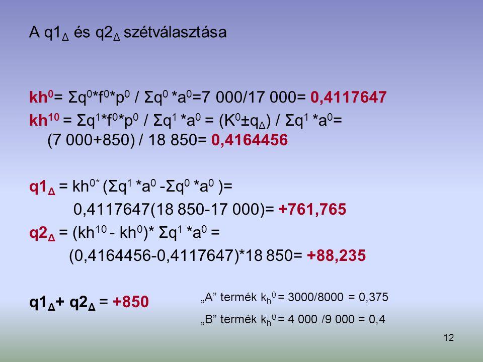 12 A q1 Δ és q2 Δ szétválasztása kh 0 = Σq 0 *f 0 *p 0 / Σq 0 *a 0 =7 000/17 000= 0,4117647 kh 10 = Σq 1 *f 0 *p 0 / Σq 1 *a 0 = (K 0 ±q Δ ) / Σq 1 *a