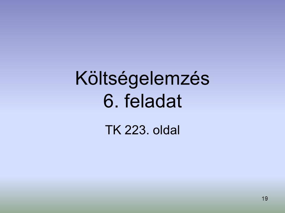 19 Költségelemzés 6. feladat TK 223. oldal