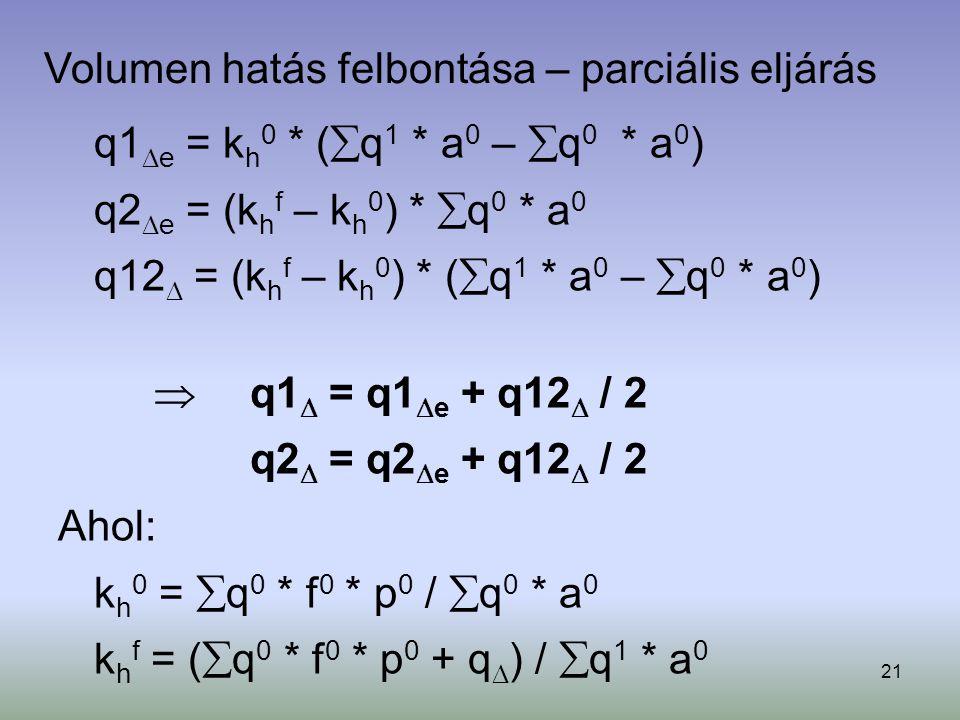 21 Volumen hatás felbontása – parciális eljárás q1  e = k h 0 * (  q 1 * a 0 –  q 0 * a 0 ) q2  e = (k h f – k h 0 ) *  q 0 * a 0 q12  = (k h f