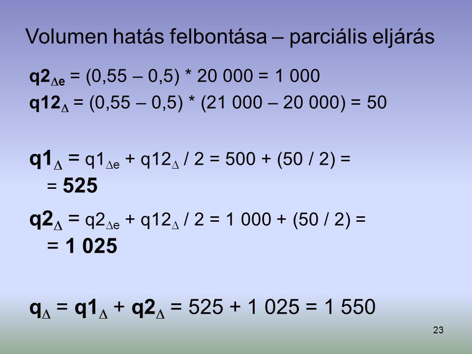 23 q2  e = (0,55 – 0,5) * 20 000 = 1 000 q12  = (0,55 – 0,5) * (21 000 – 20 000) = 50 q1  = q1  e + q12  / 2 = 500 + (50 / 2) = = 525 q2  = q2 