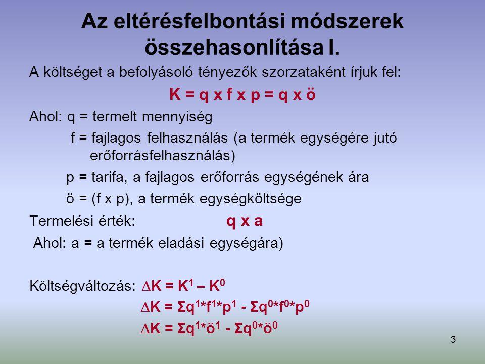 3 Az eltérésfelbontási módszerek összehasonlítása I. A költséget a befolyásoló tényezők szorzataként írjuk fel: K = q x f x p = q x ö Ahol: q = termel