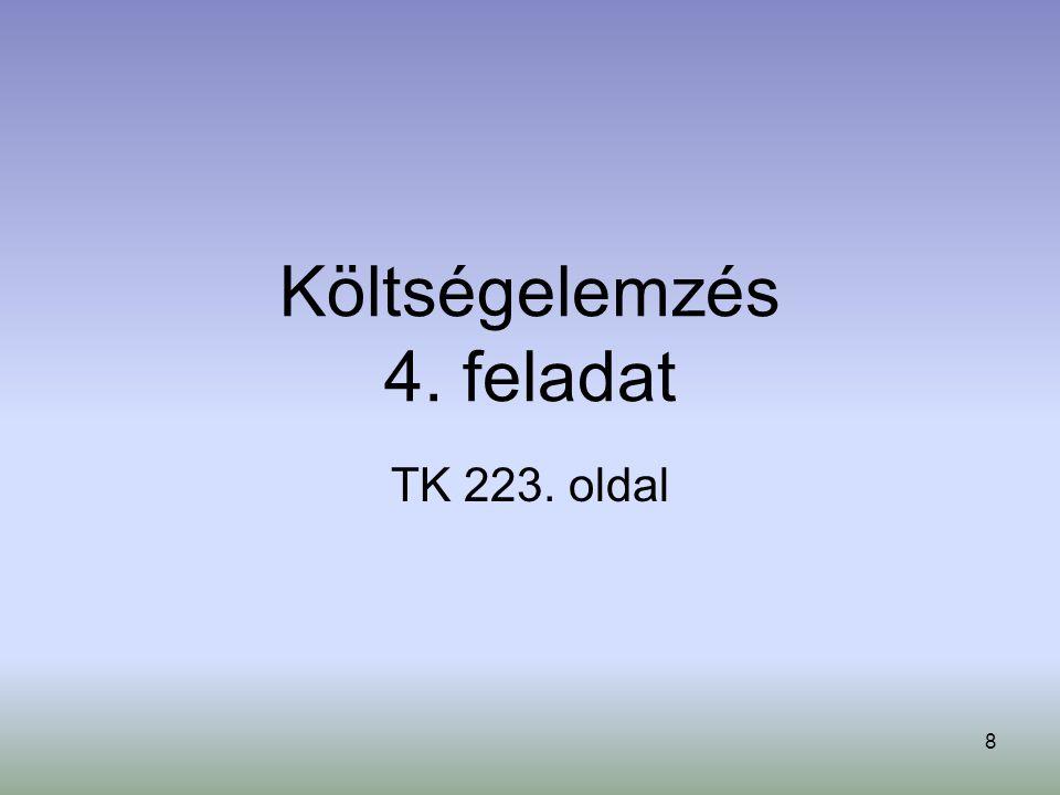 8 Költségelemzés 4. feladat TK 223. oldal