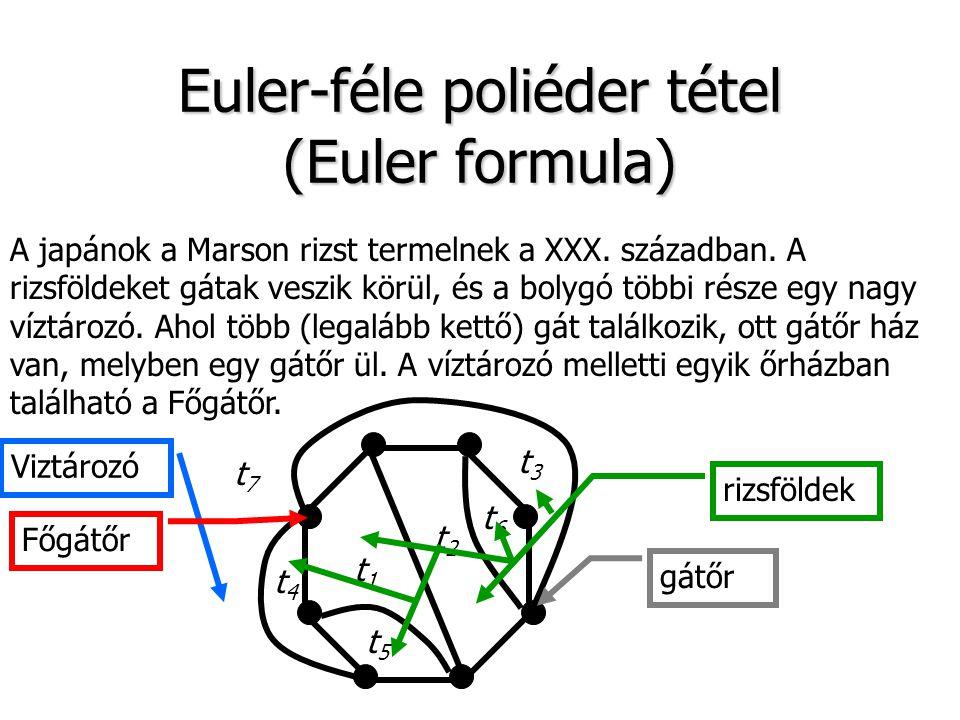 Euler-féle poliéder tétel (Euler formula) A japánok a Marson rizst termelnek a XXX. században. A rizsföldeket gátak veszik körül, és a bolygó többi ré