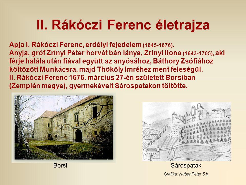 II. Rákóczi Ferenc életrajza Apja I. Rákóczi Ferenc, erdélyi fejedelem (1645-1676). Anyja, gróf Zrínyi Péter horvát bán lánya, Zrínyi Ilona (1643-1705