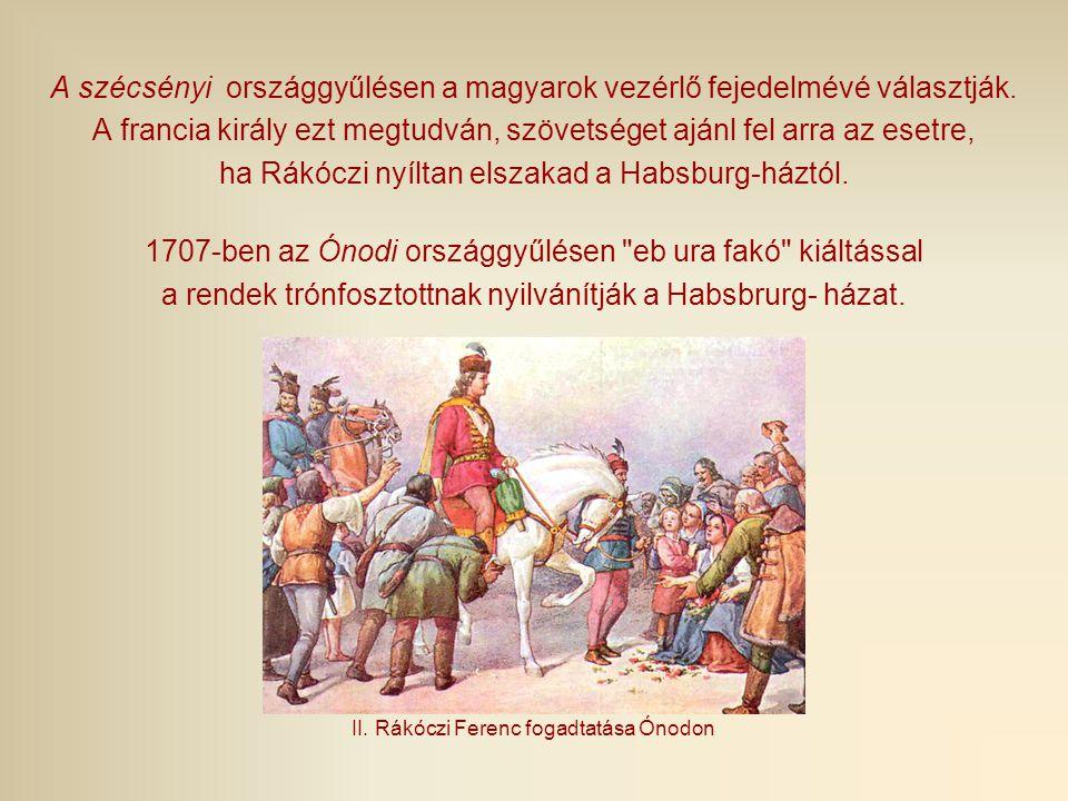 A szécsényi országgyűlésen a magyarok vezérlő fejedelmévé választják. A francia király ezt megtudván, szövetséget ajánl fel arra az esetre, ha Rákóczi