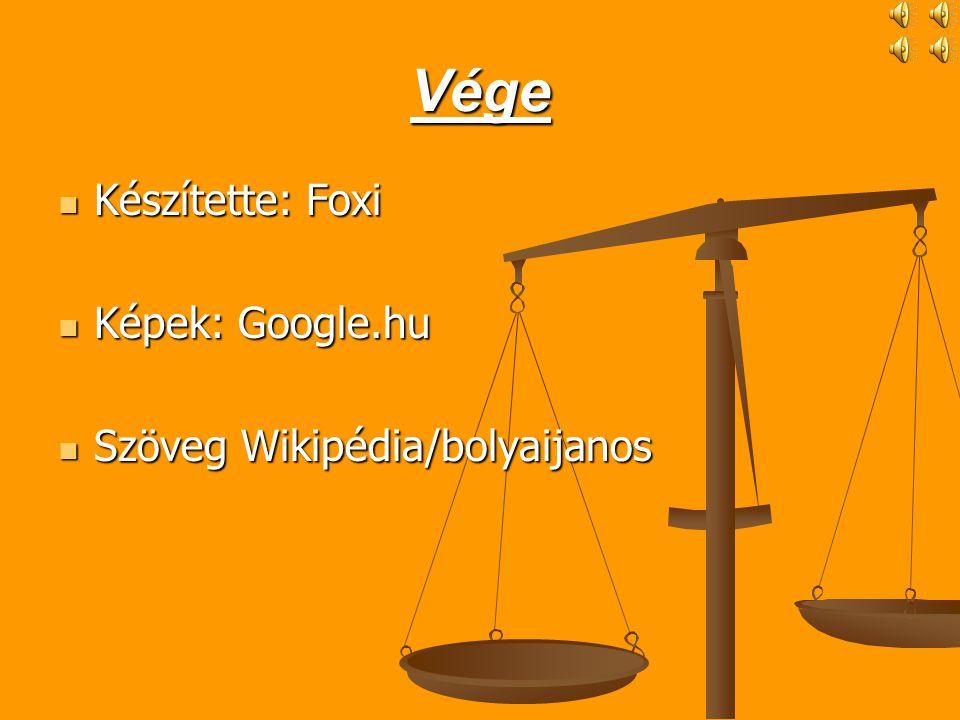 Vége  Készítette: Foxi  Képek: Google.hu  Szöveg Wikipédia/bolyaijanos