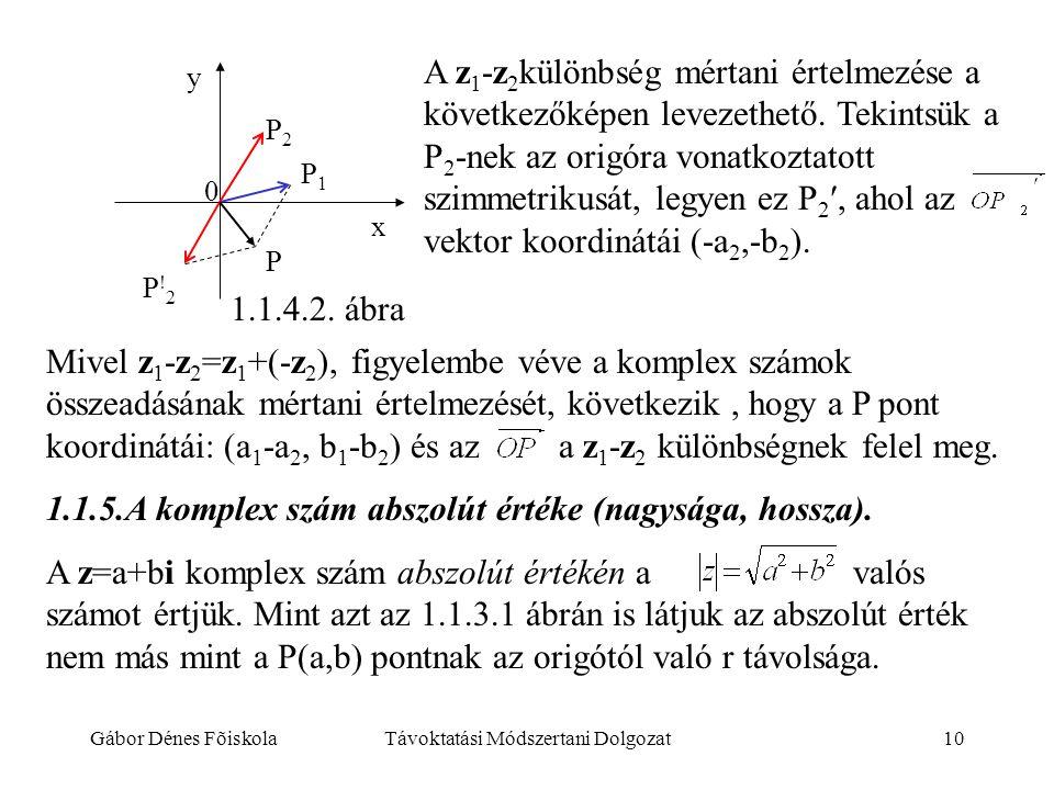 Gábor Dénes FõiskolaTávoktatási Módszertani Dolgozat10 y P2P2 P1P1 P P!2P!2 x 0 A z 1 -z 2 különbség mértani értelmezése a következőképen levezethető.