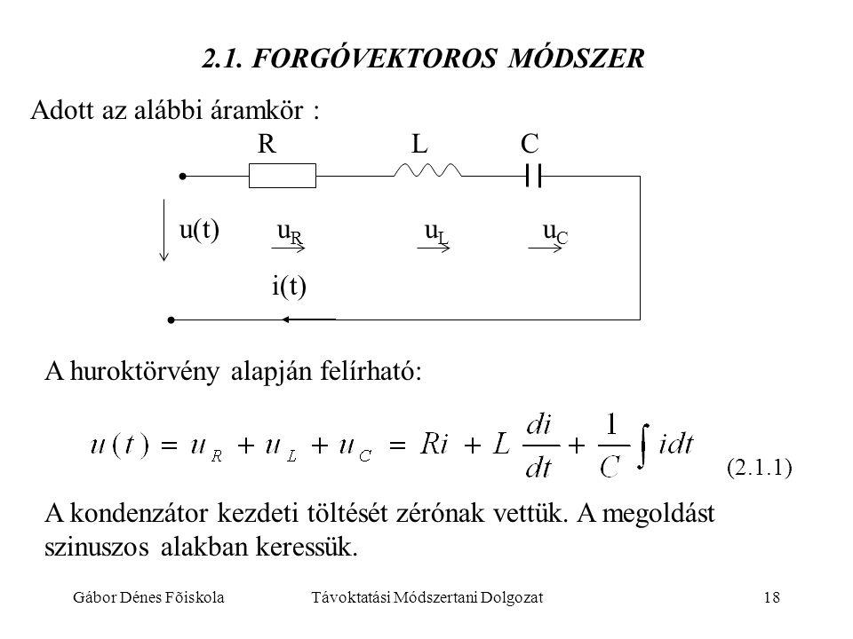 Gábor Dénes FõiskolaTávoktatási Módszertani Dolgozat18 2.1. FORGÓVEKTOROS MÓDSZER Adott az alábbi áramkör : u(t) u R u L u C R L C A huroktörvény alap