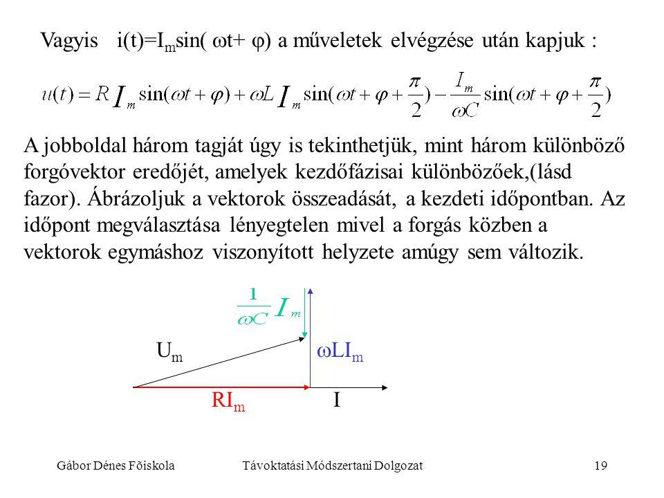 Gábor Dénes FõiskolaTávoktatási Módszertani Dolgozat19 Vagyis i(t)=I m sin(  t+  a műveletek elvégzése után kapjuk : A jobboldal három tagját úgy