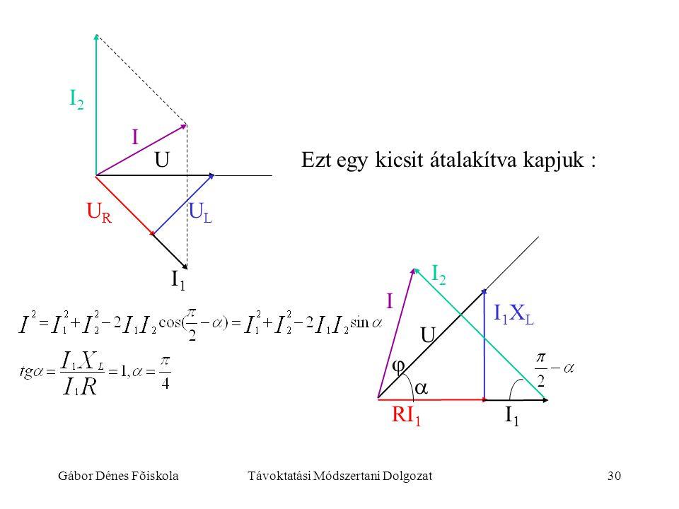 Gábor Dénes FõiskolaTávoktatási Módszertani Dolgozat30 I2I2 I ULUL URUR U I1I1 Ezt egy kicsit átalakítva kapjuk : I I2I2  I1I1 U I1XLI1XL RI 1 