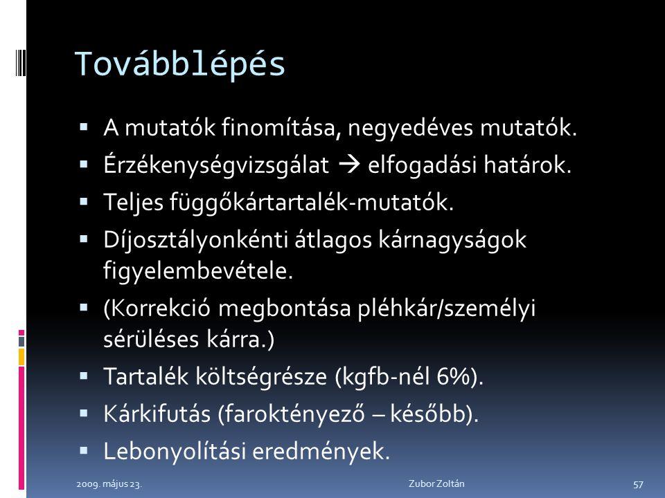 2009. május 23. Zubor Zoltán 57 Továbblépés  A mutatók finomítása, negyedéves mutatók.