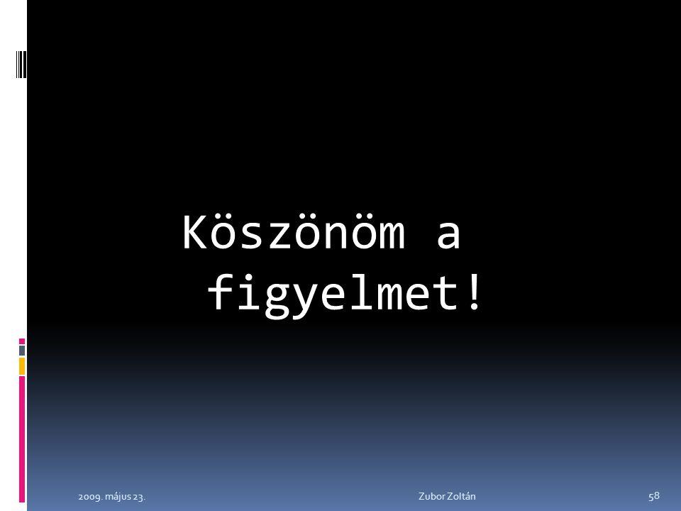 2009. május 23. Zubor Zoltán 58 Köszönöm a figyelmet!