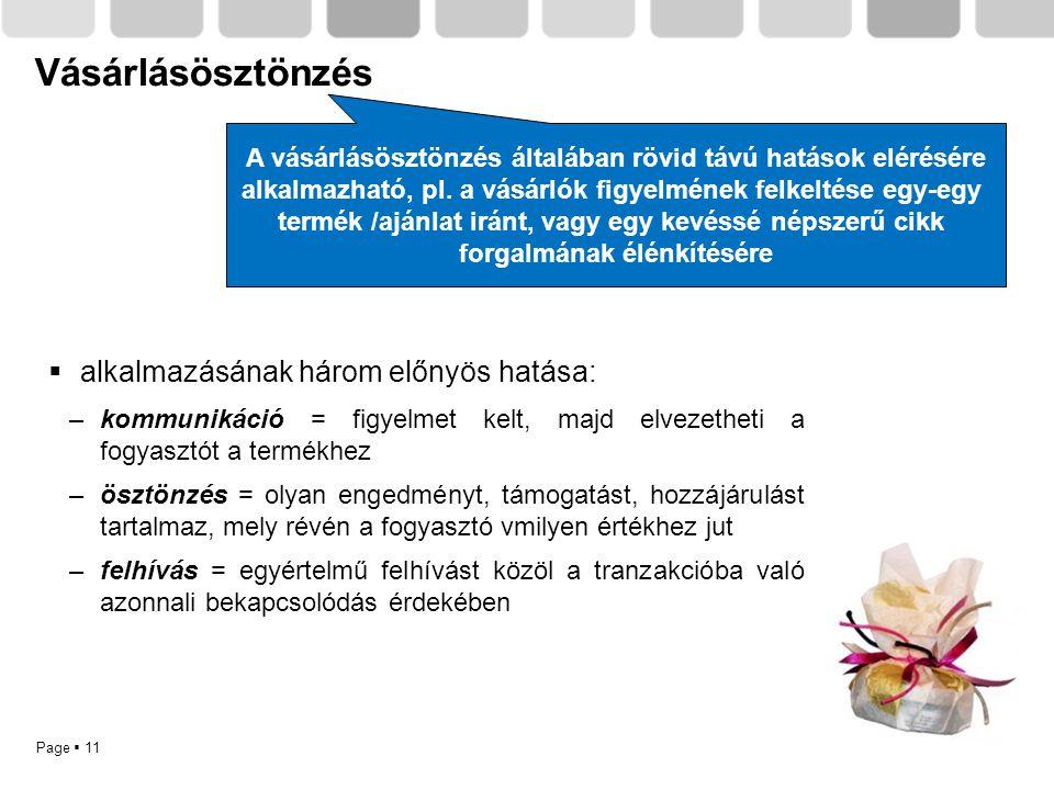 Page  11 Vásárlásösztönzés  alkalmazásának három előnyös hatása: –kommunikáció = figyelmet kelt, majd elvezetheti a fogyasztót a termékhez –ösztönzé