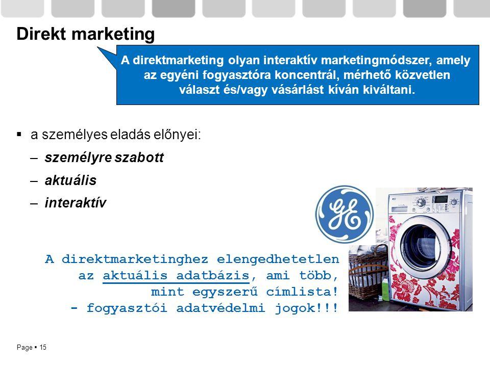 Page  15 Direkt marketing A direktmarketinghez elengedhetetlen az aktuális adatbázis, ami több, mint egyszerű címlista! - fogyasztói adatvédelmi jogo