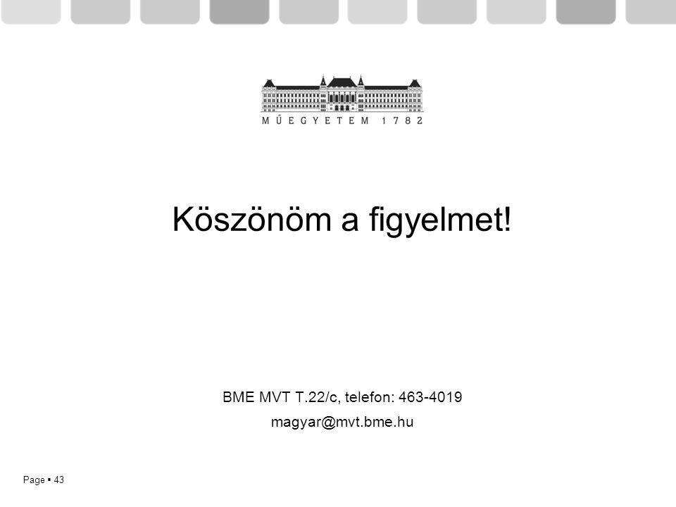 Page  43 Köszönöm a figyelmet! BME MVT T.22/c, telefon: 463-4019 magyar@mvt.bme.hu